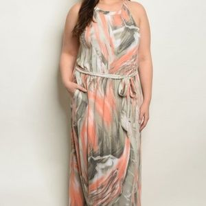 Peach and Olive Maxi dress Plus size